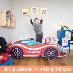 Autobett PKW Feuerwehr 70x140 Renn Spiel Kinderbett mit Matratze und Lattenrost