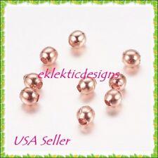 3mm 25pcs BRASS Rose Gold Metal Spacer Beads Earrings Bracelet Jewelry Findings