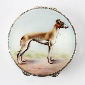 vintage Deco hallmarked silver enamel circular box with Greyhound design, 1929