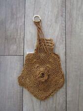 Antique 1914 Victorian Crocheted Miser Wedding Dance Gold Drawstring Coin Purse