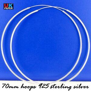 Large 70mm Solid 925 Sterling Silver Hoop Earrings Circle Studs Big Rings Womens