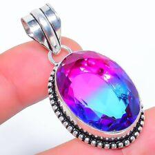 "Bi-Color Tourmaline 925 Sterling Silver Jewelry Pendant 1.9"" LP-6013"