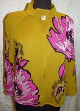 St John Colorful Jacket Cardigan Green Pink Large Overscale Floral Print 4 RARE