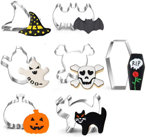 nuoshen 7 Pieces Halloween Cookie Cutters Set, Large Pumpkin, Witch's Hat, Ghost