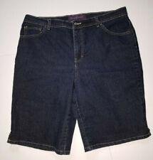 Gloria Vanderbilt Amanda Bermuda Long Shorts Dark Wash Denim Size 16W Stretch