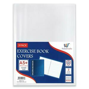 A5+ Clear Exercise Book Cover Plastic Protecting Sleeve School Notebook (3 Pack)