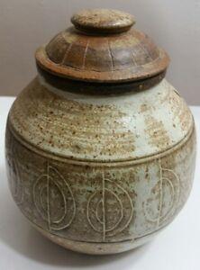 Tey Pottery Vintage Large Storage Jar Bowl Vase With Lid Stoneware Brown Beige