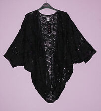 New-Black Sequin & Lace Evening Shrug-Batwing Sleeve-Open Front Jacket/Wrap-16