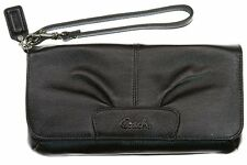 100% Genuine COACH LEATHER LARGE FLAP WRISTLET F45981 in BLACK ~Discontinued