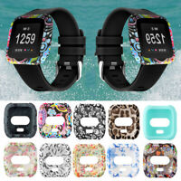 Band For Fitbit Versa Silicone Case Watch Frame Full Coverage Screen Cover