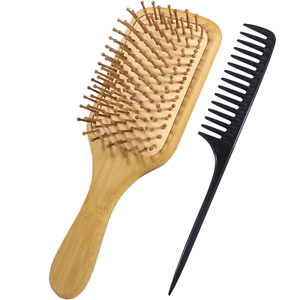 2 Pack Organic Bamboo Wooden Hair Brush Massage Comb Scalp Air Cushion Comb