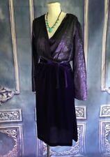 VNTG 80s Metallic Purple & Velvet Disco Faux Wrap Dress SMALL (6) Sash Tie Sheer