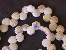 Czech White Alabaster AB Rainbow Shell Beads 8mm 25pc