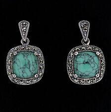 Sterling Silver Vintage Style Marcasite & Sim Turquoise Drop Earrings RRP $110