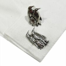 English Pewter PENGUINS Cufflinks. Xmas Gift NEW (X2TSBCB43)