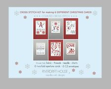 SNOW SET 6 RIVERDRIFT CHRISTMAS CARDS COUNTED CROSS STITCH KIT + envelopes