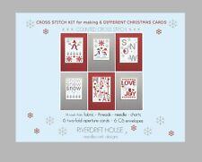 SNOW SET 6 RIVERDRIFT CHRISTMAS CARDS COUNTED CROSS STITCH KIT + envelopes