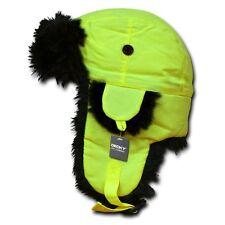 Neon Yellow Aviator Bomber Faux Fur Ski Winter Trooper Trapper Ear Flap Hat S/M