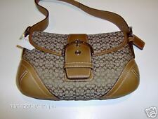 Coach Soho Leather Small Flap Lt Brown Signature Fabric