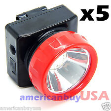 Lot of 5 Wireless LED Light Head Lamp Miner Mining Work Camping Hunting Outdoors