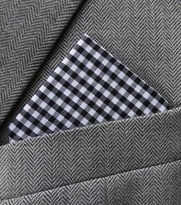 SUPERNOVA Black & White Check Pocket Square Handkerchief Mod Scooter Ska Skin