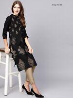 Indian Women Cotton Kurta Kurti Black Pakistani Tops Tees Designer Ethnic Dress