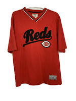 Vintage Cincinnati Reds V Neck T Shirt MLB Red/Black Men's Medium M Short Sleeve