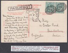1902?KEVII GB Used Abroad,South Australia Numeral;Largs Bay/Paqubot:UK;Ceylon PC
