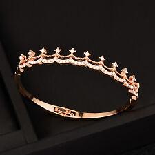 Women Wedding Crystal Crown Bracelets Love Bangle 18K White/Rose Gold Sl431