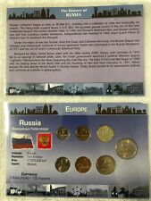 RUSSIA: 7 COIN  KOPEK & RUBLES (1998-2007)  BU SET IN ORIGINAL PACK AND HISTORY.