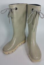 Marc By Marc Jacobs Womens US 7 EU 37 Light Gray Cream Laced Mid Calf Rain Boots