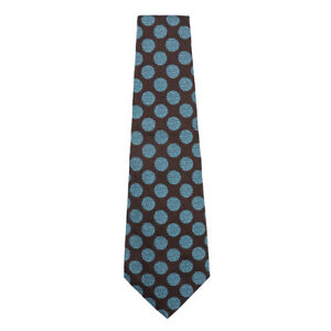 NWT RODA Extra-Wide Chocolate Brown and Turquoise Blue Dot Print Silk Tie