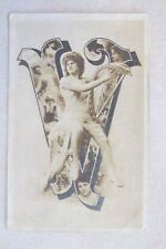 c212 Vintage Postcard Victorian Gal woman 1911 V letter harp