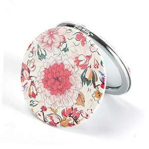 Compact Mirror Round Pu Leather Makeup Mirror for Purses Small Floral Flower
