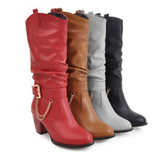 New Women's Buckle Winter Snow Pull On Fashion Boot  Slouch Cowboy Mid Calf Boot
