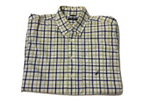 Nautica Mens Big And Tall Checked Button Up Shirt Size large Short Sleeves