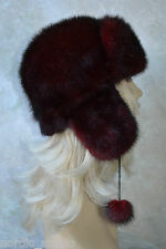 """Russian GENUINE MINK real FUR HAT with EARS and POMPOMS, Burgundy Red, 21"""""""