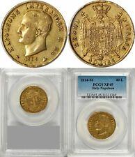 ITALY - FRANCE , GOLD 40 LIRE NAPOLEON BONAPARTE 1814 M - PCGS XF 45 , RARE