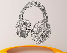 Headphones Wall Decal Vinyl Music Design Sticker Home Interior Decor (53za7he)
