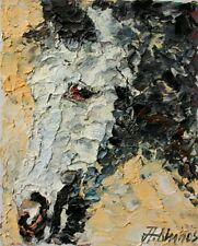 ANDRE DLUHOS Horse Equine Equestrian Gray Mustang Portrait ORIGINAL OIL Painting