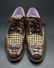 Johnston & Murphy Patent Leather Houndstooth Tweed Wingtip Shoes Size 8