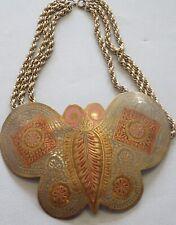 BoHo, Hippie 1960's-70's Brass,Enamel Large Butterfly Necklace