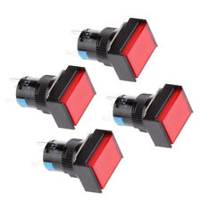 4xDC 12V SPDT Momentary Square Push Button Switch 16mm with Red LED Light