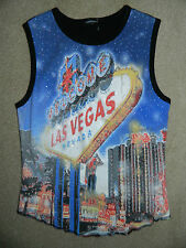 Girl's Black Las Vegas Themed Top Size 14/16