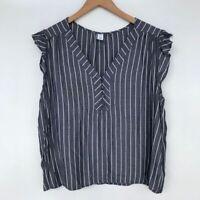 Old Navy Women's V-Neck Striped Ruffle Cap Sleeve Button Blouse Navy Sz XLP