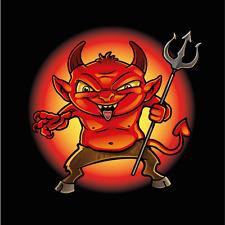 "Little Devil Funny Mascot Car Bumper Sticker Decal 5"" x 5"""