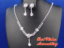 Wedding Bridal Clear Crystal Rhinestone Necklace Earrings Set Silver Plated