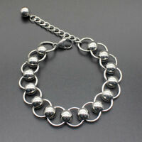 Men Silver Stainless Steel Wristband Bangle Chain Cuff Punk Boys Cool Bracelet