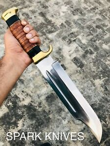 "18"" SPARK CUSTOM HANDMADE D2 HUNTING CROCODILE DUNDEE HIGH POLISH BOWIE KNIFE"