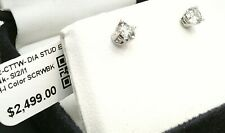 $2500 WOW 1/2CTTW CT REAL Diamond Stud Earrings 14k SOLID WHITE Gold NO RESERVE